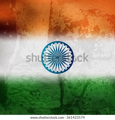 Indian flag with grunge texture vector background - stock vector