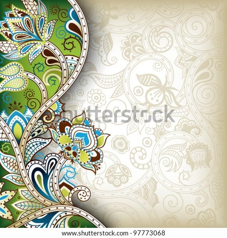 Indian Floral Background - stock vector