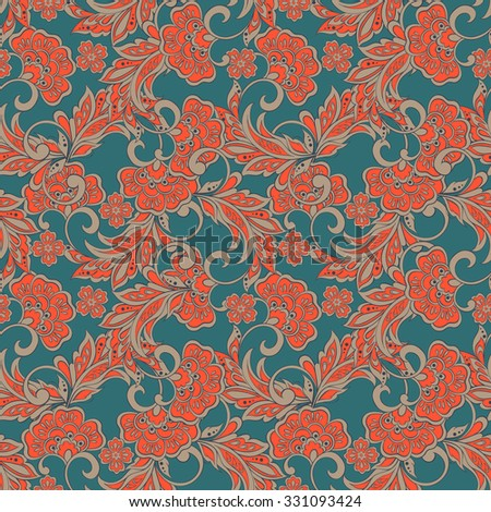 indian floral pattern - stock vector