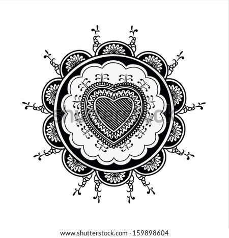 Indian floral pattern with hearts - stock vector