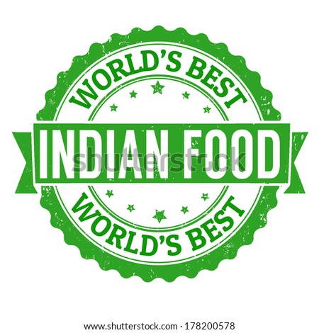 Indian food grunge rubber stamp on white, vector illustration - stock vector