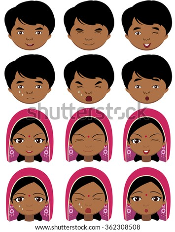 Indian girl in a headdress and boy emotions: joy, surprise, fear, sadness, sorrow, crying, laughing, cunning wink. Vector cartoon illustration - stock vector