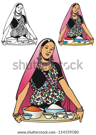 Indian girl in formal traditional attire, holding a tray of food and exotic spices - stock vector