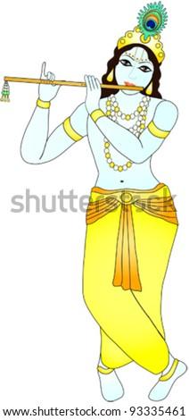 Indian god Krishna - stock vector