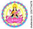 "Indian goddess Kamala (The Lotus Goddess; the ""Tantric Lakshmi"") - stock vector"