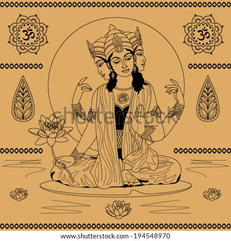 Indian goddess with three heads on a beige background of water and water lilies  - stock vector