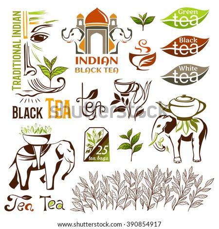 Indian, green and black tea emblems. Decorative elements for package design. Vector logo collection.