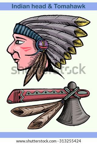 Indian head and tomahawk hand draw cartoon illustration isolated - stock vector