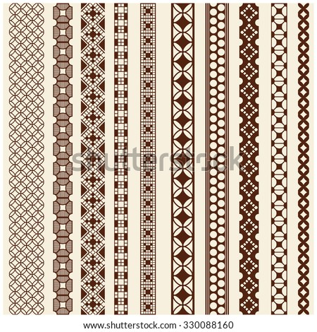 Indian Henna Border decoration elements patterns in brown colors. Popular ethnic border in one mega pack set collections. Vector illustrations.Could be used as divider, frame, etc - stock vector