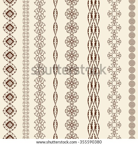 Indian Henna Border decoration elements patterns in brown colors. Popular ethnic border in one mega pack set collections. Vector illustrations. Could be used as divider, frame, etc - stock vector