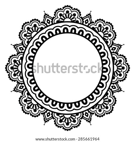 Indian Henna floral tattoo round pattern - Mehndi - stock vector