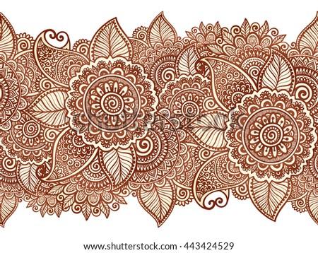 Henna Mehndi Vector : Indian henna tattoo style vector floral stock hd royalty