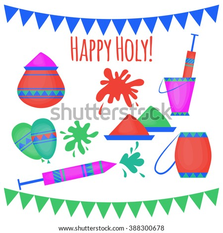 Indian Holi traditional festival of colours, design elements in indian style, hinduism colorful celebration with vivid multicolored powder vector