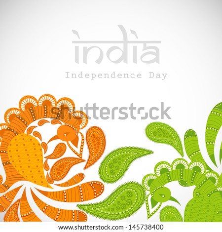 Indian independence background with floral decorations in tricolors on abstract grey background. - stock vector