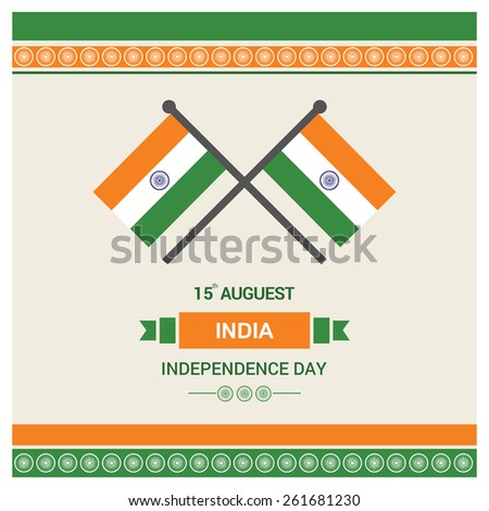 Indian Independence Day - 15 August India National Celebration Card, Background, Badges Vector Template - stock vector