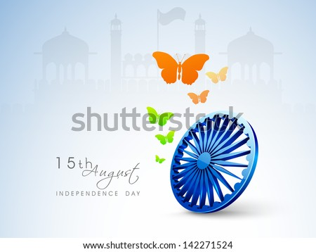 Indian Independence Day background with 3D ashoka wheel and butterflies in national flag color. - stock vector