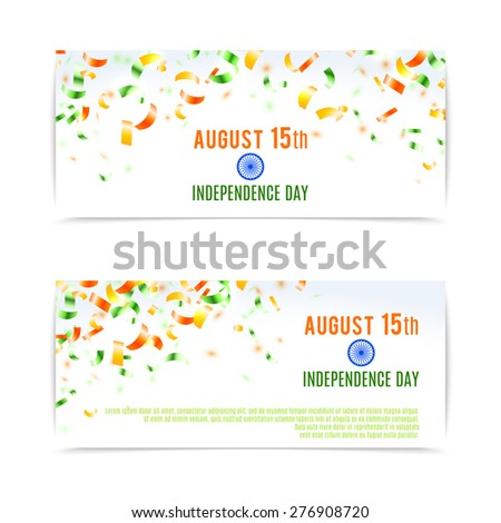 Indian Independence Day banners. Vector illustration, eps10. - stock vector