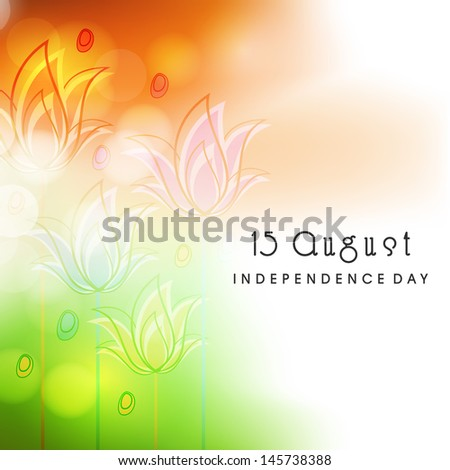 Indian independence day concept in floral decorate tricolors background.  - stock vector