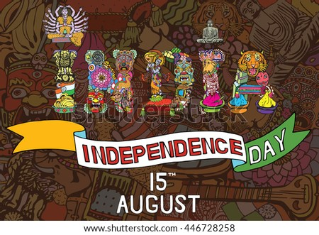 Indian Independence Day theme. National symbols of 15 August. India card with Text. Vector Type with Indian Objects.