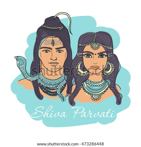 Indian Lord Shiva and his wife Parvati. Tattoo, Hindu, om, chakra, god, ayurveda, yoga, textiles, pattern for t-shirt, postcard, bag and coloring book pages for adults. Hinduism, spiritual art.