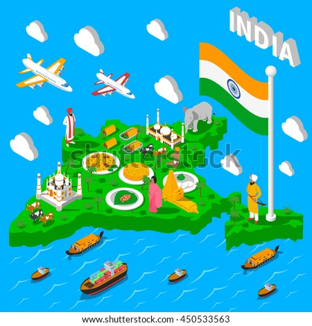 Indian map for tourists with transportation means landmarks cultural symbols and national food isometric poster vector illustration