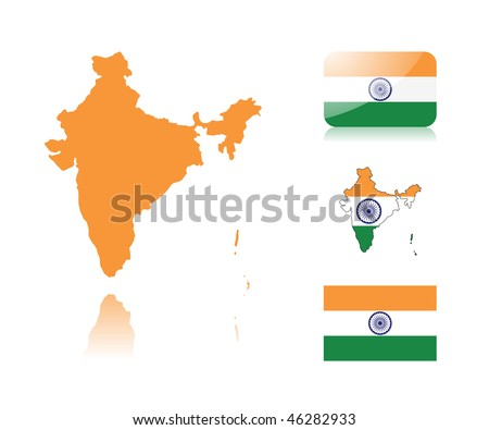 Indian map including: map with reflection, map in flag colors, glossy and normal flag of India. - stock vector