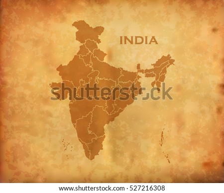 Indian Map on Vintage Grunge Background
