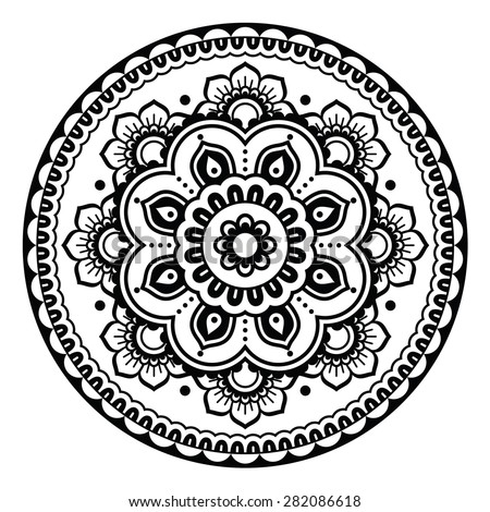 Indian, Mehndi Henna floral tattoo round pattern - stock vector