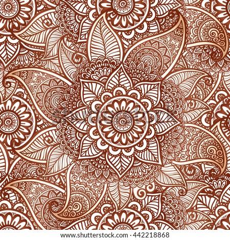 Indian mehndi henna tattoo style vector seamless pattern tile - stock vector