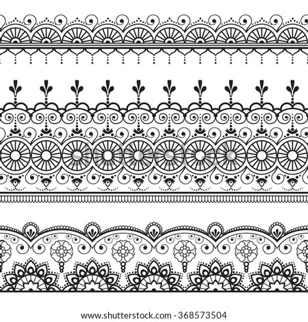 Indian, Mehndi Henna three line lace elements pattern for tattoo on white background. Border decoration elements pattern - stock vector