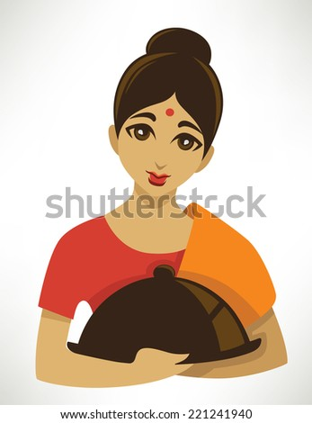 indian menu, cartoon girl in a traditional cloth serve a food