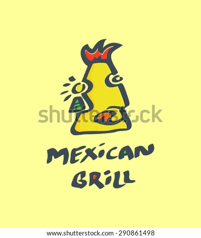 Indian Mexican Face. Logo for grill - stock vector