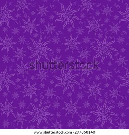 Indian motif, seamless pattern on violet background, vector illustration - stock vector