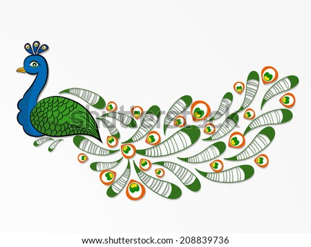 Indian national bird peacock national flag stock vector 208839736 indian national bird peacock in national flag colors on grey background for 15th of august ccuart Choice Image