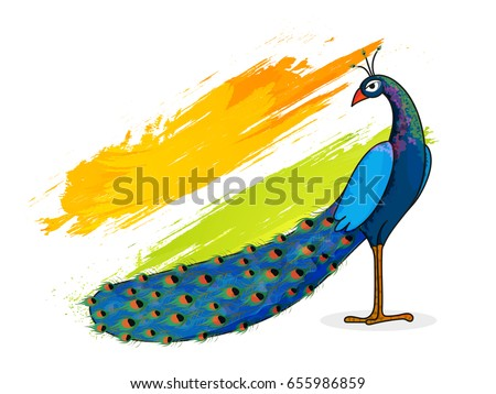 Indian national bird peacock on flag stock vector 655986859 indian national bird peacock on flag colors brush stroke background for happy independence day sciox Choice Image