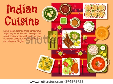 Indian national cuisine dishes on festive table with candles, rose petals and curry with rice, kebab and tandoori chicken legs, vegetables and lemons, spinach soup with cheese, dessert and tea