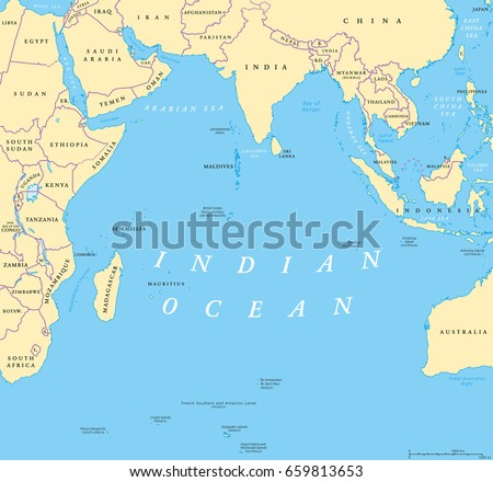 indian ocean political map countries and borders worlds third largest ocean division bounded