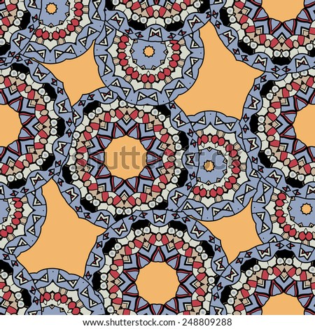 Indian ornament, kaleidoscopic flora pattern. African abstract seamless pattern. Vintage motif. - stock vector
