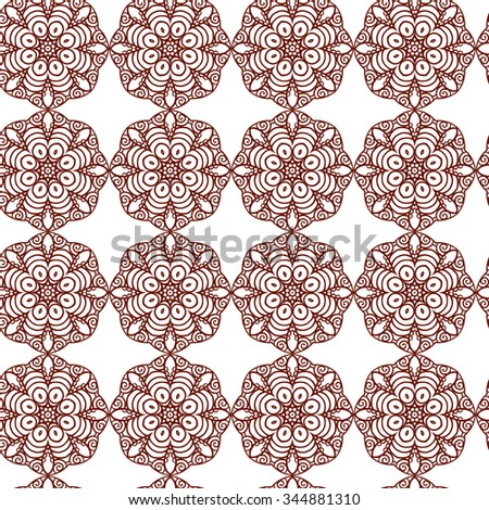 Indian Ornamental Hund Drawno Henna Tattoo Mandy doodle seamless pattern vector batskground - stock vector