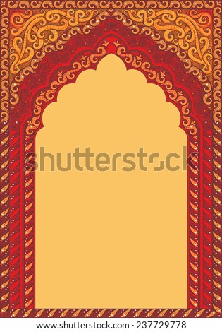 Indian ornamented arch. Color red. - stock vector
