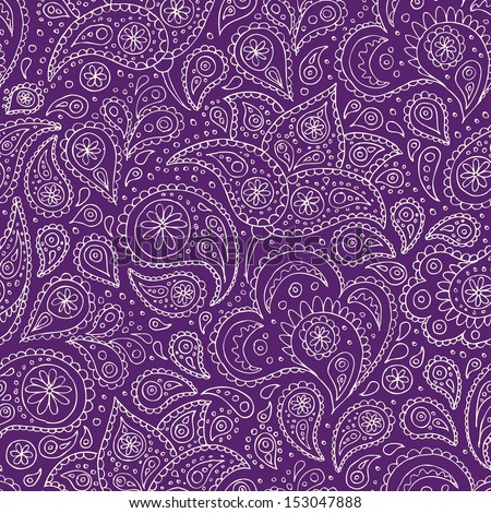 Indian paisley flowers hand drawn pattern. Vector illustration. - stock vector
