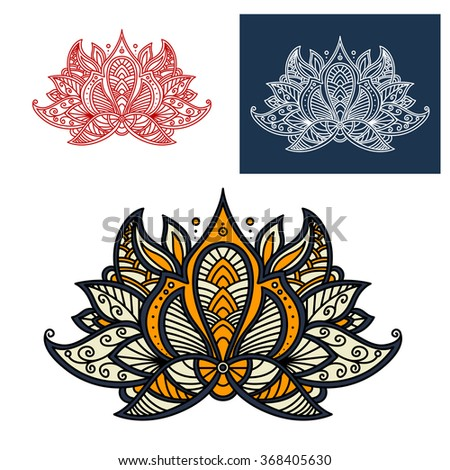 Indian paisley openwork flower with beige, orange and gray curved petals, adorned by lace pattern of curly lines. Great for oriental interior accessories or textile print design - stock vector