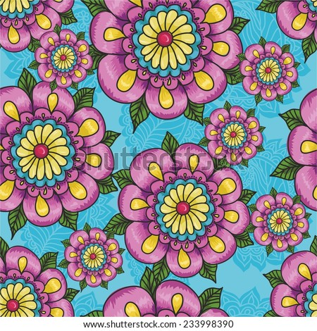 Indian pattern with flowers on a blue background. vector