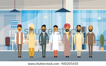 Indian People Businessman Group Traditional Clothes India Business Office Interior Flat Vector Illustration - stock vector