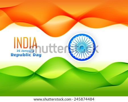 indian republic day celebrated on 26 january flag design made with tricolor wave vector design - stock vector