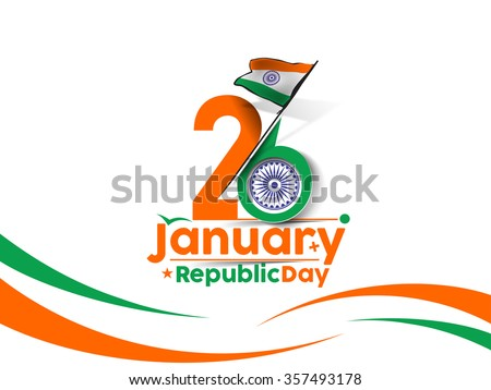 Indian Republic day concept with text 26 January. - stock vector