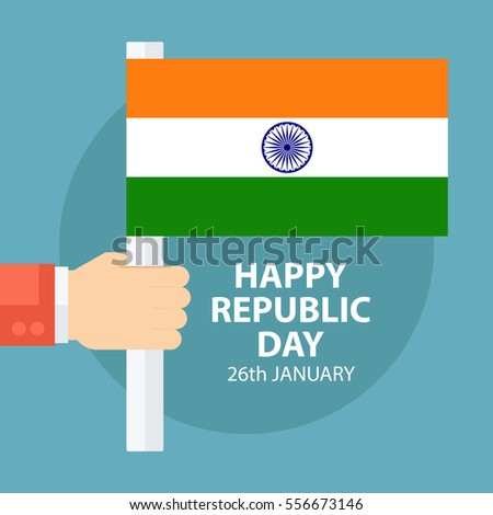 Indian republic day greeting card male stock vector 556673146 indian republic day greeting card with male hand holding indian flag vector illustration m4hsunfo