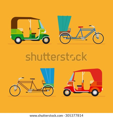 Indian rickshaw. Auto rickshaw and pedicab. Travel transport taxi, tourism and vehicle, vector illustration - stock vector