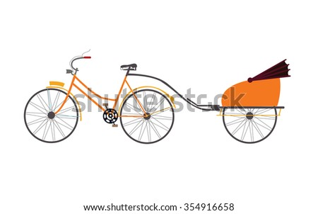 indian rickshaw vector illustration travel transportation pull by bicycle - stock vector