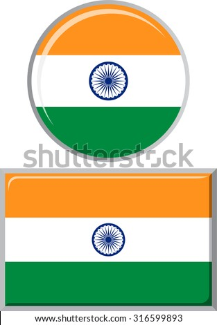 Indian round and square icon flag. Vector illustration Eps 8.